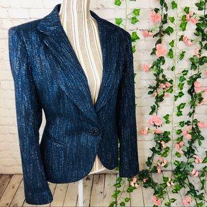Lafayette 148 Tweed Wool Bling Slim Fit Blazer